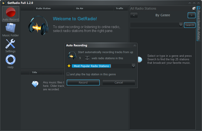 GetRadio – Autorecord feature